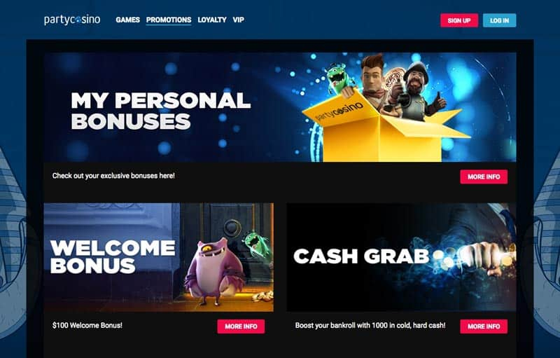 Party Casino Review - 100% Welcome Bonus UP TO 500€ + 20 Free spins